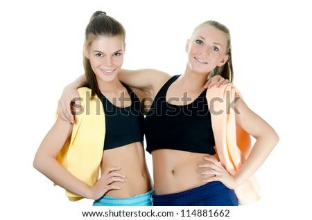 Two  sports woman  isolated on white  background
