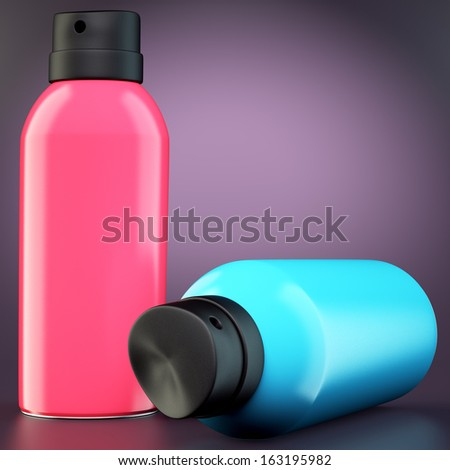Two spray cans on dark background. 3d illustration  - stock photo