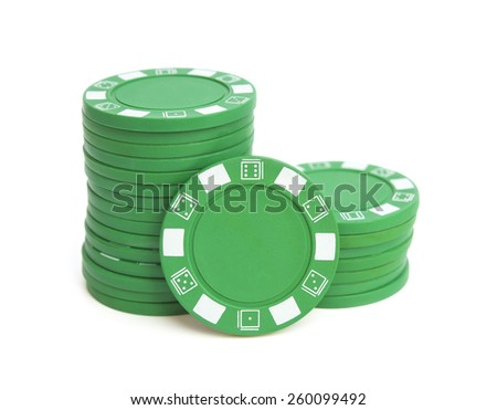 two stacks of green poker chips on white with clipping path - stock photo