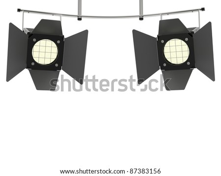 Two stage spotlights looking to the viewer and isolated on white background - stock photo