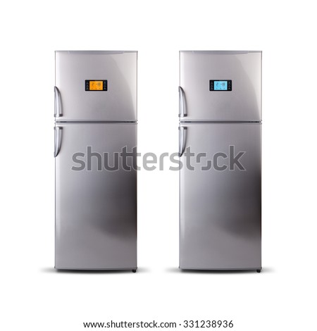 Two Stainless steel modern refrigerators isolated on white. The external LED display, with blue and orange glow. Fridge freezer. - stock photo