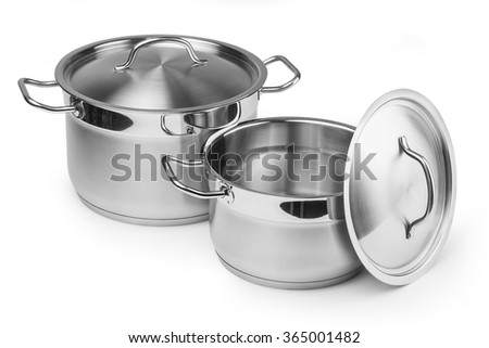 Two stainless steel pots. Isolated on white background with clipping path