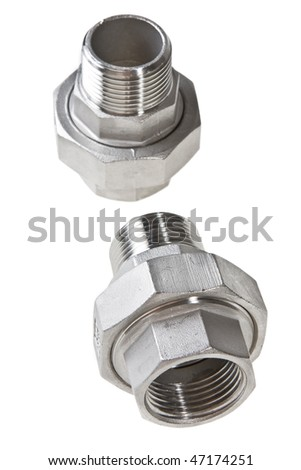 Two stainless steel unions female-male threaded isolated on white