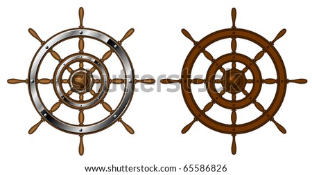 Two steering wheels - isolated on white (raster image)