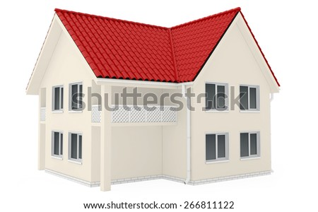 Two-storey country house with red roof. Isolated in white background. 3d render