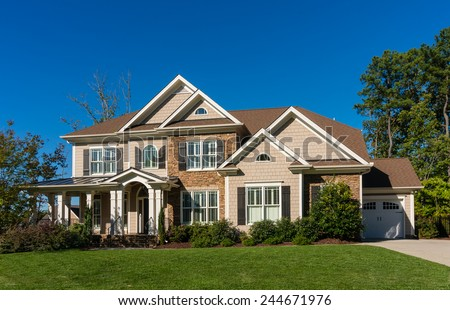 Two story house in the America - stock photo