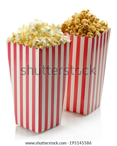 Two striped boxes of popcorn (salty and sweet) isolated on white background - stock photo