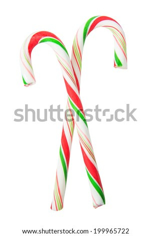Two striped candy sticks isolated on white background