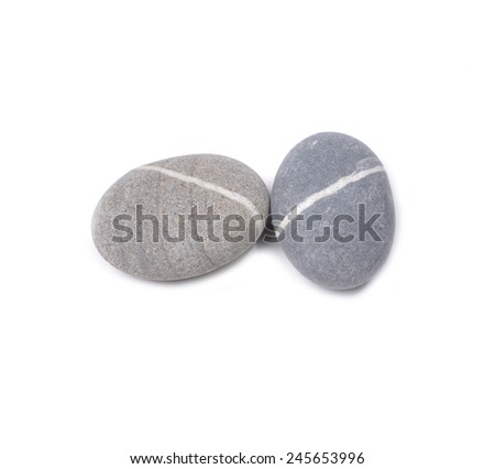 two striped stone isolated - stock photo