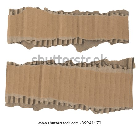 Two strips of corrugated cardboard with torn edges. Isolated on white. Clipping path included. - stock photo