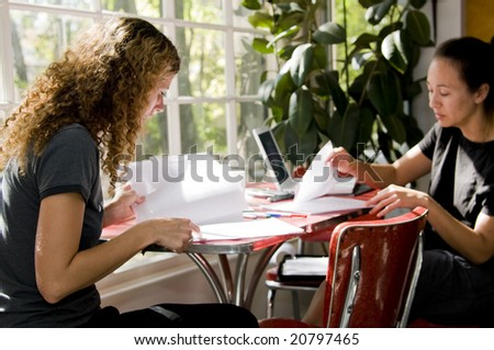 Two students study