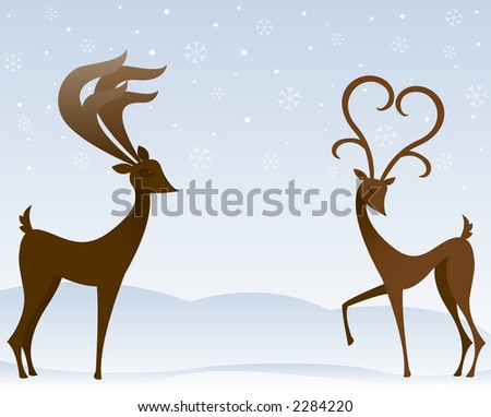 Two stylized reindeer flirt in the snow - the female's antlers resemble a large heart - stock photo