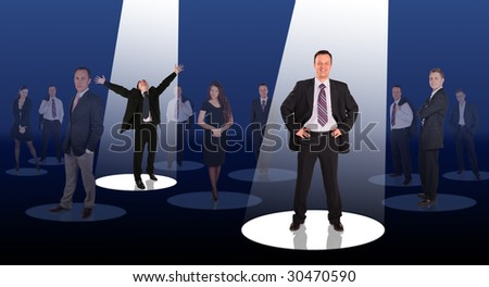 two successful businessmen standing in ray of light collage