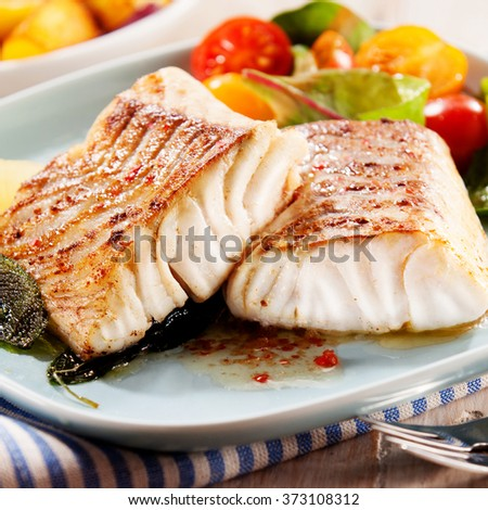 Two succulent fillets of savory grilled marinated pollock or coalfish served with a colorful fresh salad for a delicious appetizer, close up side view - stock photo