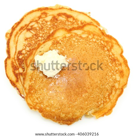 Two Sugar Free Pancakes with Butter isolated over white.