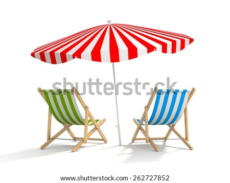 Two sun loungers and parasols. The illustration shows that the rest waiting for tourists, and the tourist season is near - stock photo