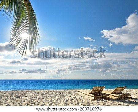 Two sunbeds on idyllic tropical palm beach -- Tropical vacations concept  - stock photo