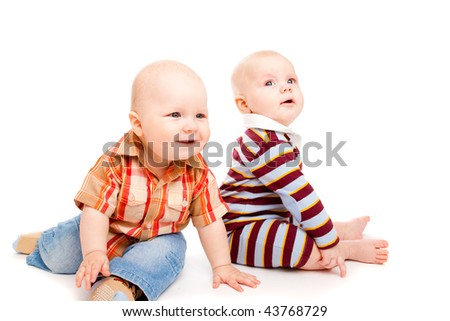Two sweet baby boys - stock photo