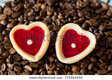 two sweet hearts and coffe beans - stock photo