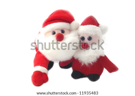 Two Sweet little santa-claus isolated on a white background