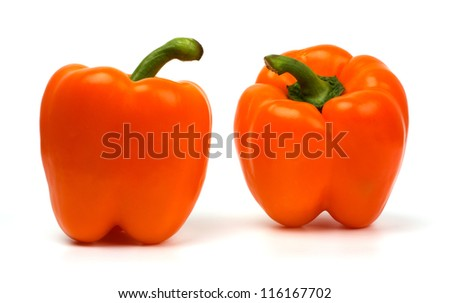 Two sweet peppers isolated on white - stock photo