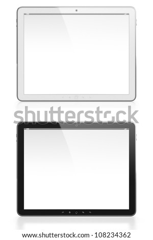 Two tablet computers with blank screen one white and one black isolated on white background - stock photo