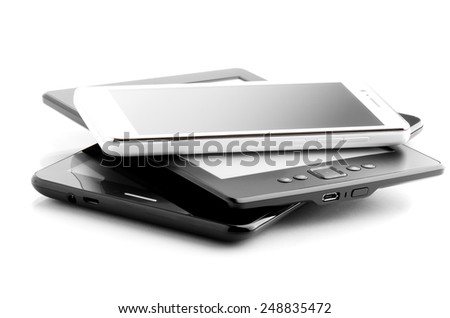Two Tablets And Phone Isolated On White