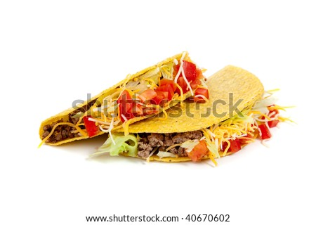 Two tacos on a white background with tomatoes, beef, lettuce and cheese- mexican food - stock photo