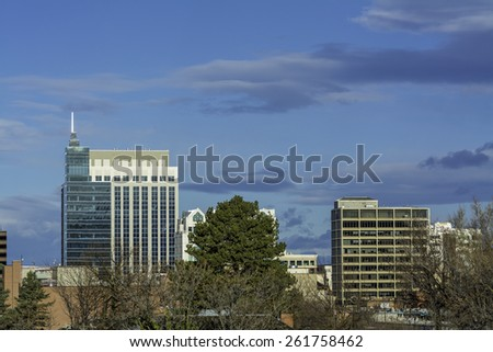 Two tall buildings in the Boise IDaho skyline - stock photo
