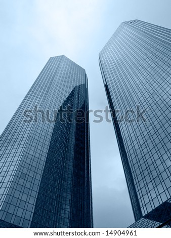 Two tall modern buildings in the center of Frankfurt