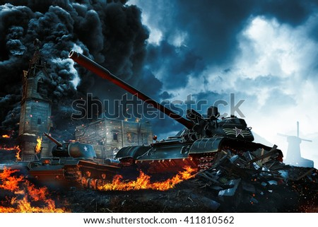 Two tanks in the conflict zone. The war in the countryside - stock photo