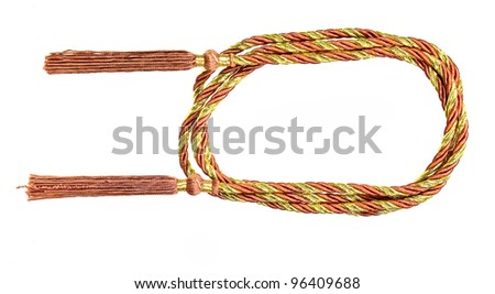 Two Tassels and rope for curtain, isolated on white background,with copy space in center - stock photo