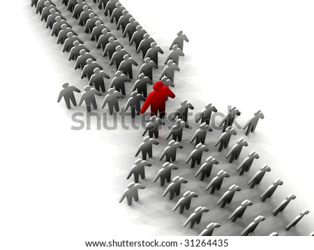 Two teams being lead by same leader - stock photo