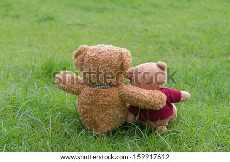Two TEDDY BEAR brown color sitting on grass - stock photo