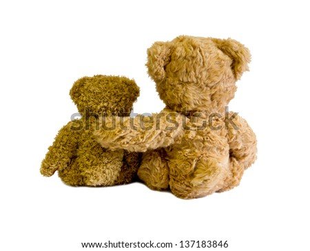 two teddy bears back isolated on white - stock photo