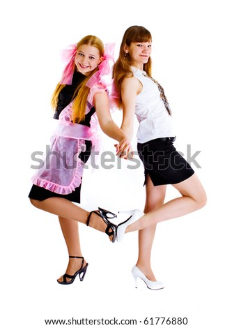 two teenage girls isolated on white background - stock photo