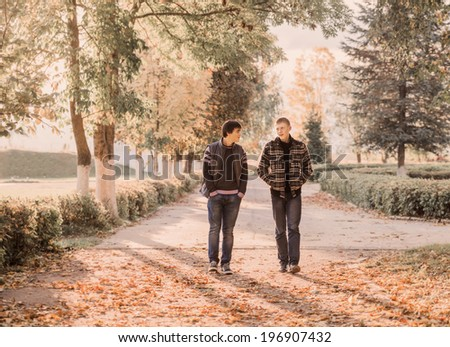 two teenagers outdoor - stock photo