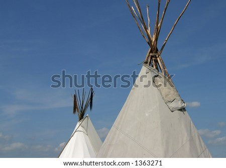 Two teepees - stock photo