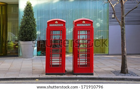 Two telephone booths in central London - stock photo
