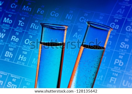 Two test tubes. Small depth of field. - stock photo