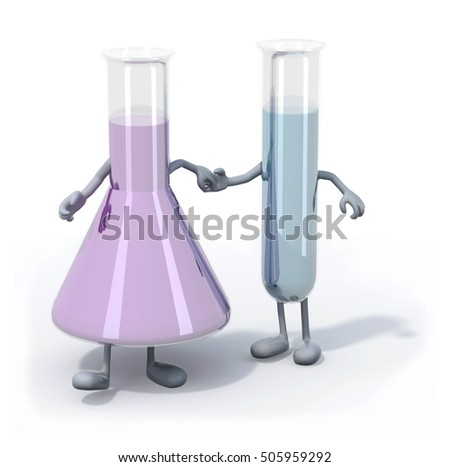 two testtubes with colored liquid inside with arms and legs that walk, 3d illustration