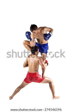 Two thai boxers exercising traditional martial art, Isolated on white background - stock photo