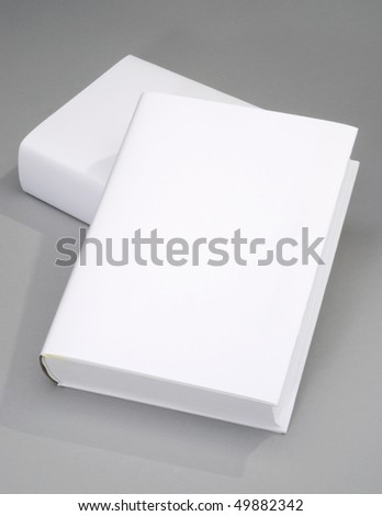 Two thick blank book with white cover - stock photo