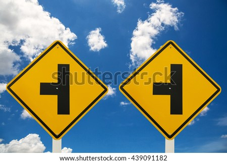Two Three Intersection Sign and blue sky with cloud - stock photo
