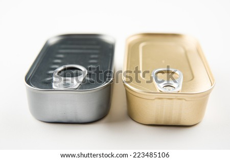 Two Tin Can of Sardines or Anchovies on White Background