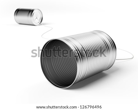 Two tin cans attached with string - stock photo