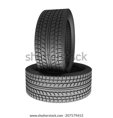 Two tires isolated on white background. 3d render illustration - stock photo