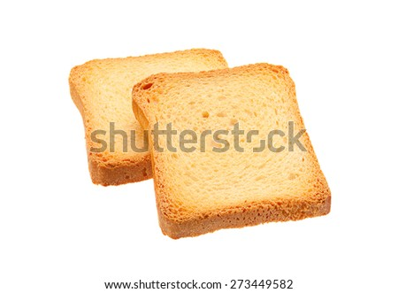 Two toasted bread slice isolated on white background - stock photo