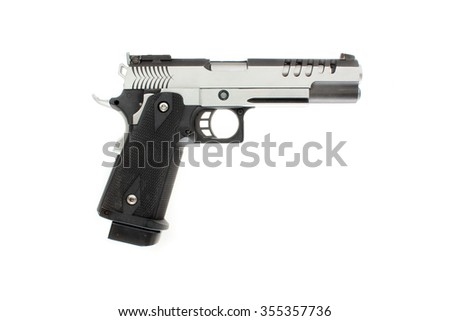 Two tones Pistol handgun isolated with white background  - stock photo
