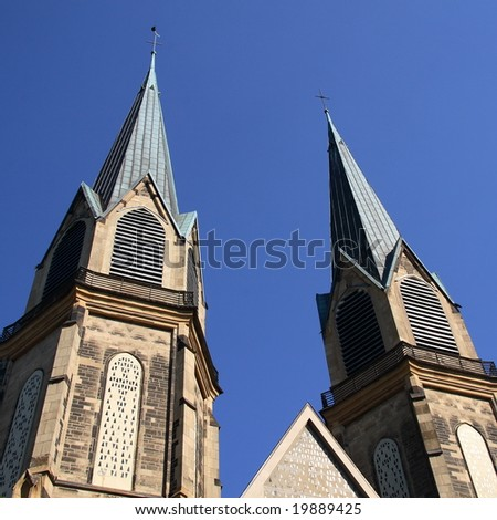 Two towers of a cathedral in Dusseldorf (Germany) - stock photo